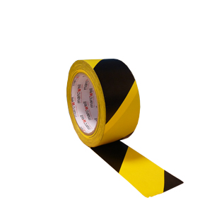 Tape - floor marking hazard black/yellow (packed 18 rolls/box)