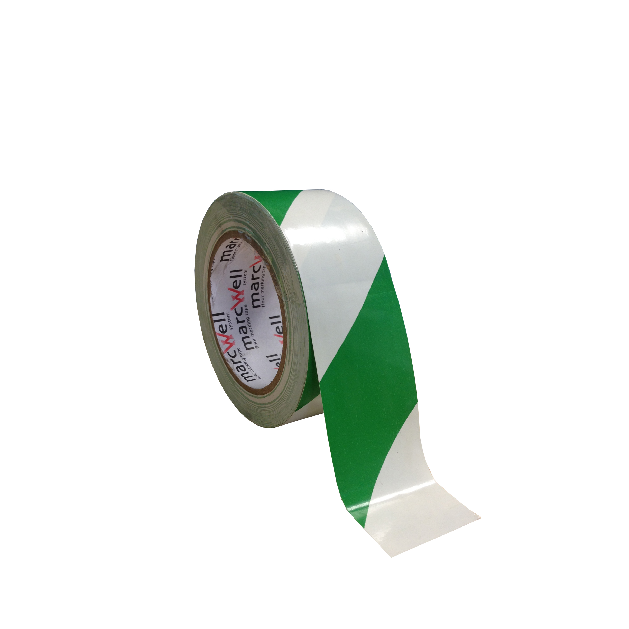 Tape - floor marking hazard green/white (packed 18 rolls/box)