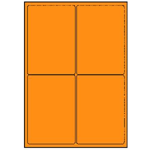 Labels - laser 4UP Fluorescent Orange