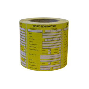 Label - 120 x 98mm WEL printed REJECTION printed black on yellow, perm freezer grade, 76mm core  650/roll