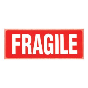 Labels - 'Fragile' wine-glass 152 x 101mm (large)