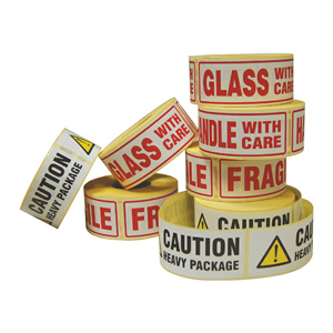 Labels - 'Caution Liquid' 148 x 50mm, 2 colours