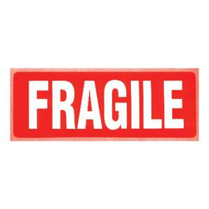 Labels - 'Fragile' printed red on white 148 x 50mm