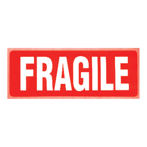 Labels - 'Fragile' printed white on red 89 x 32mm
